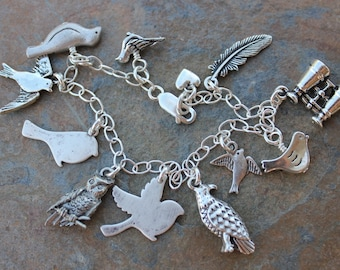 Bird Nerd Bracelet - antiqued bird & binocular charms on sterling silver chain - owl, eagle, songbirds, dove, feather - Free Shipping in USA