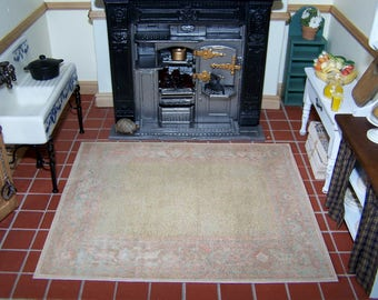 Dollhouse Rug Old and Faded Olive Green and Beige, Miniature Dolls' House Carpet for 1 Inch Scale Study or Kitchen, UK Seller