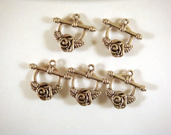 5 Silver Toggle Clasp Antique Silver Alloy Flower 18mm - 5 sets - F4062TC-AS5