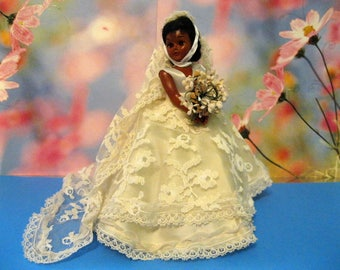 """African American Bride Doll, 8"""" Tall, lace and Satin Dress and Veil, Flower Bouquet, 1950's Rigid Plastic Body and Legs"""