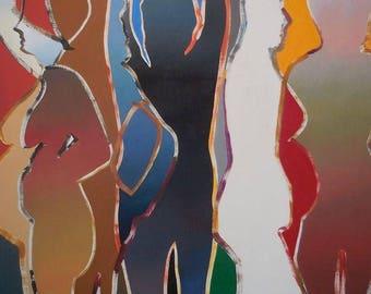 Huge Original  Painting  By Arthur  Secunda - Vive  LA VIE PARIS 1991
