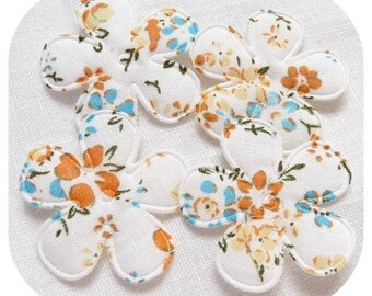 SET OF 4 WHITE FLORAL LIBERTY FABRIC APPLIQUE FLOWERS ORANGE