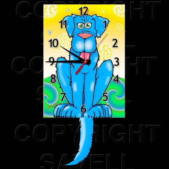 Dog Clock with Swinging Tail Pendulum • Blue Dog Clock