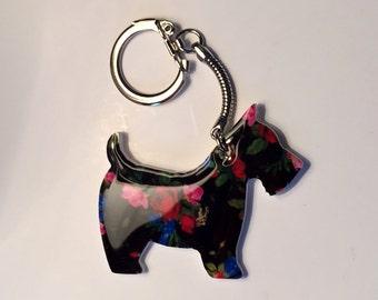 Scotty Dog Bag Zipper Charm Keyring Acrylic/Resin - 6 cm x 5 cm - Scottish Highland Terrier