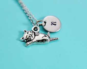 Pet Lover Gift Pet Gift Cat Necklace Silver Cat Charm Necklace Cat Jewelry Cat Lover Gift Personalized Necklace  Initial Charm