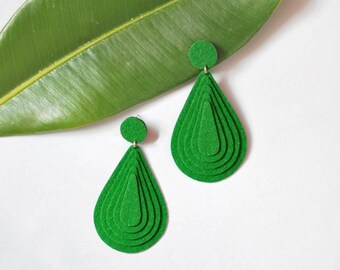 Green earrings Geometric earrings Dangle earrings Green statement earrings Clip on earrings Large teardrop earrings Drop earrings Handmade
