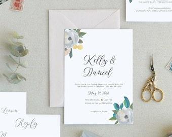 Simple Wedding Invitation Templates. Printable Wedding Invitation Template. Floral Wedding Invitation. Minimal Wedding Invitations. Invite-5