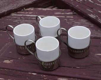 Vintage Set Of 4 Demitasse / Espresso Cups With Holders