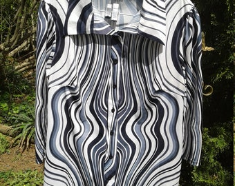 Retro Poly Black & White Women's Blouse 2x