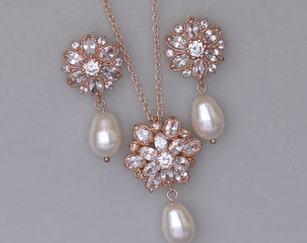 Crystal Jewelry Set, Rose Gold  Bridal Set, Rose Gold Jewelry Set, Rose or White Gold Set, JENNA
