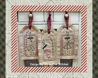 Frosty's Pine Tag Collection-Primitive Stitchery-E-PATTERN by Primitive Stitches-Instant Download