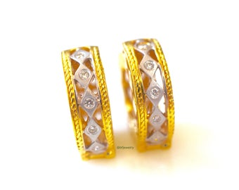 Petite Two-Tone 14K Gold Diamond Hoop Earrings