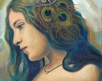Eidyia 8x10 Fine Art Print Mermaid Portrait Mythology Art Nouveau Ocean Goddess Art