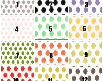 JoJo Ikat Dots Curtains All Colors Choose 25 inch or 50 inch wide - 84 90 96 108 120 Long  or Grommets
