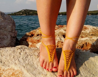 Gypsy Style Barefoot Sandals - Boho Foot Jewelry - Beach Sandals - Beach Wedding - Belly Dance Yoga Shoes - Beach Accessories