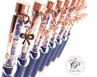 Sophisticated Sapphire - Custom Designed Crystal Pen with interchangeable Bow charm