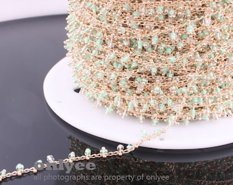 3FT(1yd)- Chain Lacy Green Seed Glass Bead, Gold Plated over Brass / 2.6mm(N118G)