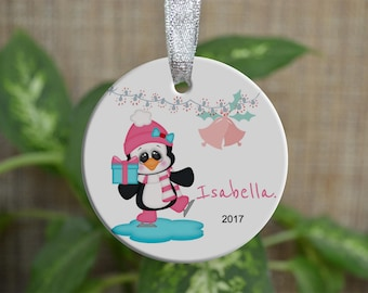 Personalized Christmas Ornament, Baby First Christmas ornament, Custom Ornament, Newborn baby gift, penguin ornament, Christmas gift. o057