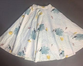 Vintage 50s skirt / 1950s circle skirt / novelty print skirt / novelty print circle skirt / under the sea skirt / circle skirt / 8235