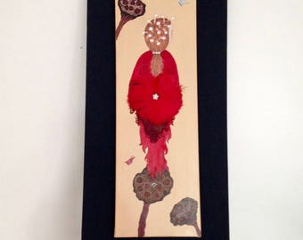 Original paint and feathers poppies Lady