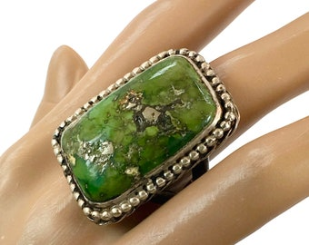 Green Turquoise Ring, Big Stone, Sterling Silver, Vintage Ring, Size 10 1/2, Turquoise Ring, Unisex, Mens Ring, Large, Huge, Heavy