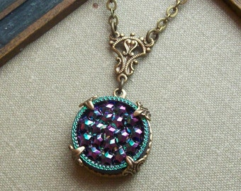 Vintage German Glass Button Necklace, Starry Night, Style 01