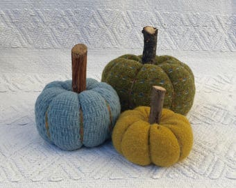 Wool Fabric Pumpkins, Thanksgiving Home  Decor, Fall Decor, Country Home Accent, Fall and Halloween Decor  - set of 3