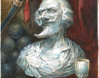 Baron's Bust - extraordinary adventures of Baron Munchausen watercolor illustration