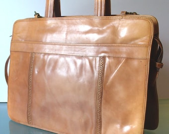 Natural Leather Accordian Style Breifcase Purse