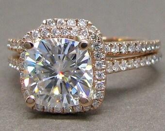 Cushion Cut Forever One Moissanite Diamond Engagement Ring Bridal Set Wedding 14k Rose Gold 8mm Halo Colorless