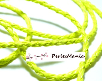 Finish jewelry: 10 m wire braided neon yellow leatherette P5063 3 mm