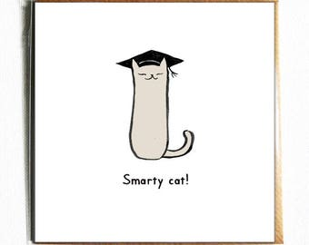 Smarty Cat - Cute and funny illustrated cat pun congratulations / graduation card.