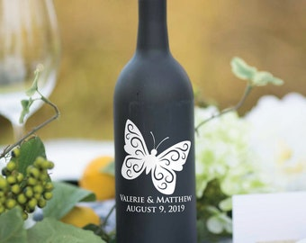 Wine Bottle Decal, Butterfly with Personalized Names, Wine Bottle Vinyl, Wine Bottle Table Decoration, Wedding Centerpiece, Vinyl Decal,