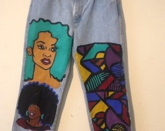 Men's hand painted jeans