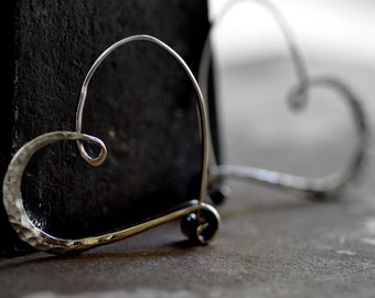 sterling silver heart hoops smooth hammered  endless style hoop, petites