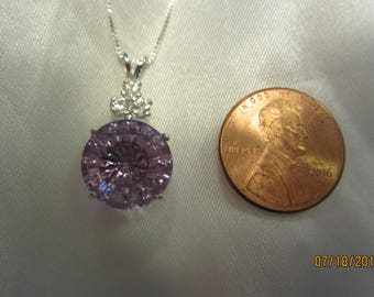 Round Accented Lavender Amethyst Pendant