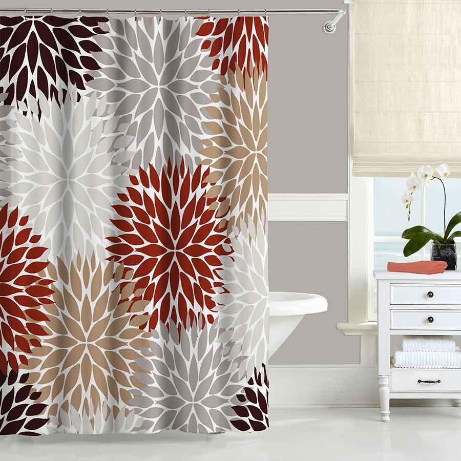 Chrysanthemum Shower Curtain Floral Dahlia Shower Curtain