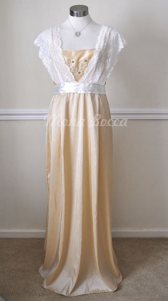 Edwardian Evening Gowns | Victorian Evening Dresses Edwardian Dress handmade in England cream stone Titanic Downton Abbey vintage styled with ivory lace and Swarovski crystals $158.00 AT vintagedancer.com