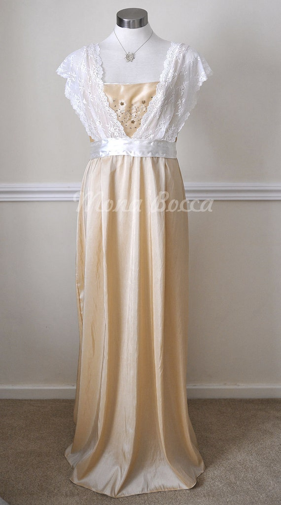 Old Fashioned Dresses | Old Dress Styles Edwardian Dress handmade in England cream stone Titanic Downton Abbey vintage styled with ivory lace and Swarovski crystals $158.00 AT vintagedancer.com