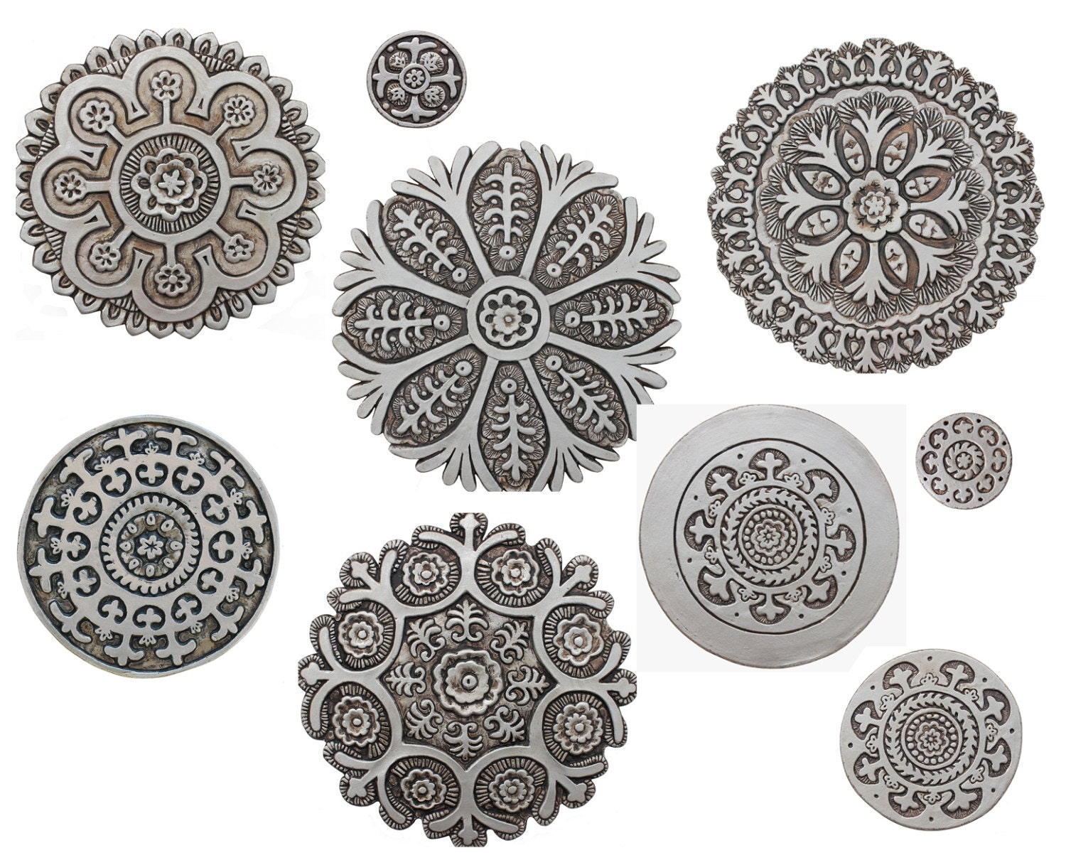 9 circle wall art with suzani designs painted in aged silver zoom dailygadgetfo Images