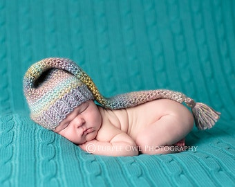 Crochet Pattern, Self Striping Long Tail Tassel Hat, Instant Pattern Download Available,All Sizes Newborn- 12mos