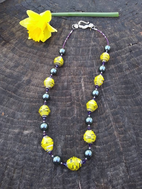 Yellow, purple and blue necklace/ paper and pearl necklace