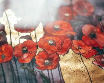 Watercolor poppy and gold foil