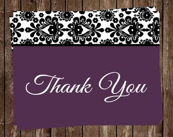 Birthday Party, Thank You Cards, Women, Plum, Damask, White, Gray, Feminine, French, Set of 20 Folding Cards, DAPLU, Damask Plum, Lace