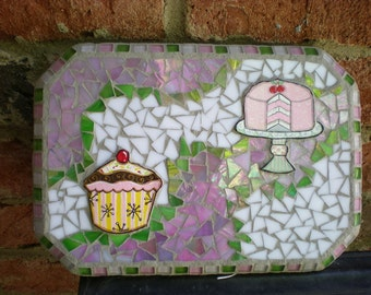 Mosaic Cake and Cupcake Wall Art