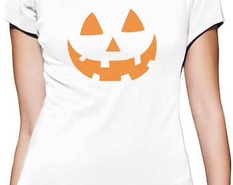 Orange Jack O' Lantern Pumpkin Face Halloween Costume Women T-Shirt
