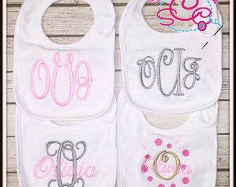 Personalized Baby Girl Monogrammed Bib Set