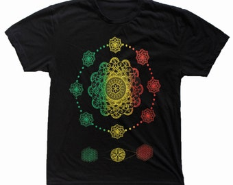 Men's This is NOW Hand Drawn Mandala T-Shirt Sacred Geometry Clothing Flower of Life Shirt