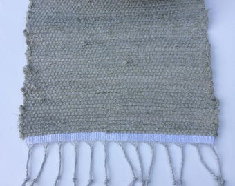 """handwoven table runner - soft green with silver sparkles - 13""""x35"""""""