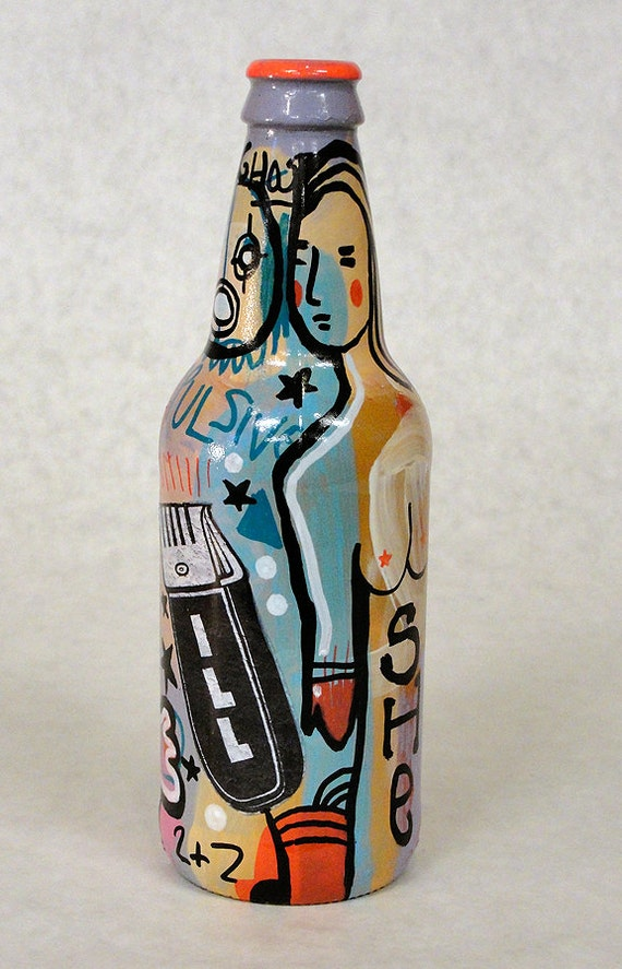 Bottle NO. 72 - Original Mixed Media illustration on Beer Bottle